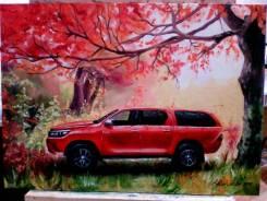 Картина Тойота Хайлюкс в осеннем лесу