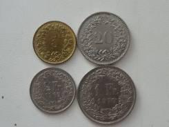 Швейцария подборка из 4 монет. Без повторов! Торги с 1 рубля!