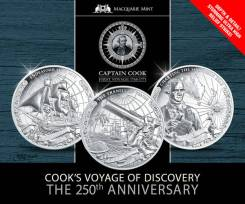 * О-ва Кука набор 3 монеты по 5 долларов 2018 Капитан Кук * Парусник