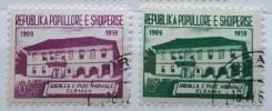 1960 Албания. 50 лет первой школе в Эльбасане. 2 марки Гашеные