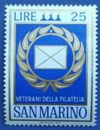 1972 Сан-Марино. Поздравление ветеранов филателии.1 марка Чистая