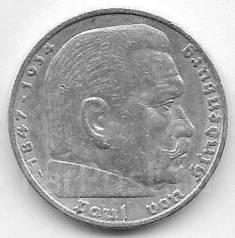 5 марок 1936г. Германия (A). Серебро. Возможен обмен.