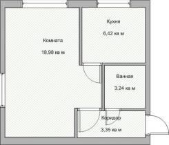 1-комнатная, улица Адмирала Юмашева 6. Баляева, частное лицо, 31кв.м. План квартиры