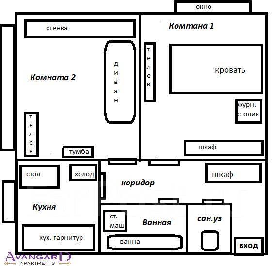 2-комнатная, улица Октябрьская 14. Центр, 55 кв.м. План квартиры