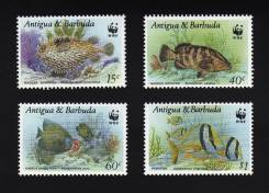Антигуа и Барбуда 1987 Mi1010-1013 чистые, фауна, рыбы