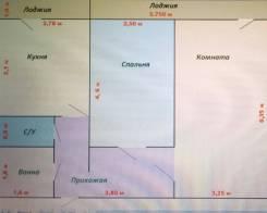 2-комнатная, улица Адмирала Смирнова 18. Снеговая падь, частное лицо, 54 кв.м. План квартиры