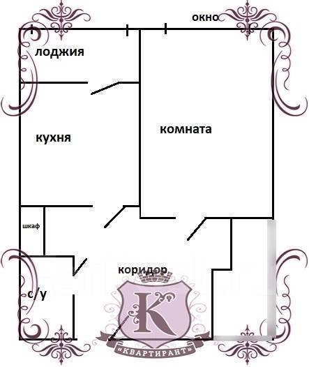 1-комнатная, улица Адмирала Горшкова 22. Снеговая падь, 42кв.м. План квартиры