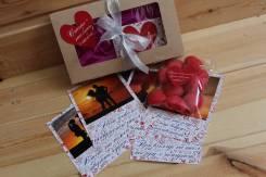 7 карточек с Вашими фото +мармелад-сердечки 14 и 23 февраля, 8 марта. Под заказ