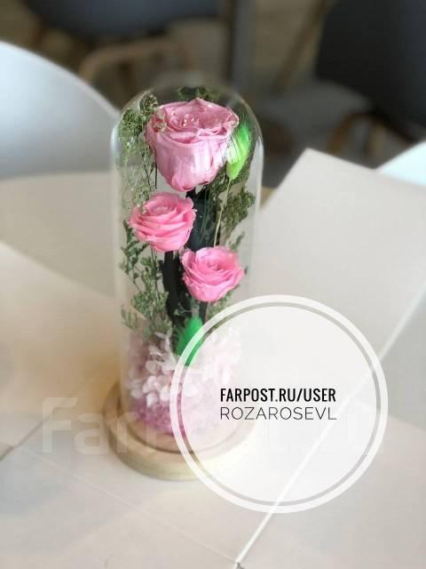 Живая роза в стекле! Оригинальный подарок! Новинка! Хит продаж