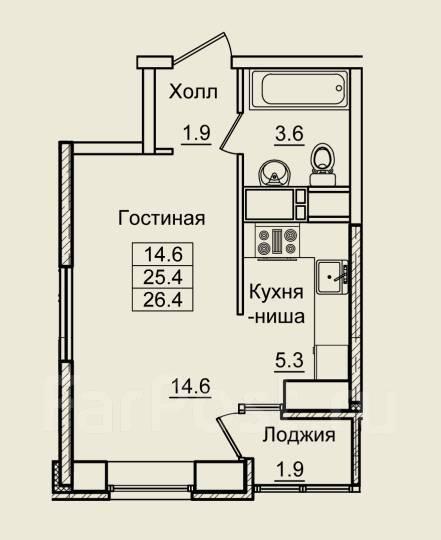 1-комнатная, улица Нейбута 17 кор. 2. 64, 71 микрорайоны, застройщик, 27кв.м. План квартиры
