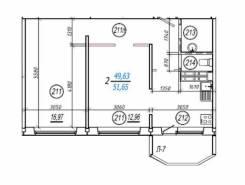 2-комнатная, улица Нейбута 137. 64, 71 микрорайоны, частное лицо, 51 кв.м. План квартиры