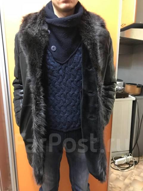 Куртка кожаная зимняя с мехом енота 52 размер - Верхняя одежда в ... 6b0f0836c82