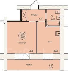 1-комнатная, улица Специалистов 67а. Центральный, агентство, 39 кв.м.