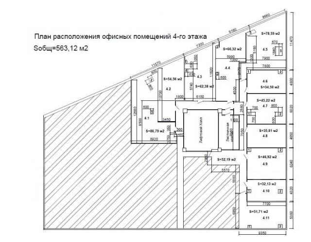 """БЦ Fresh Plaza (офисы класса """"А"""") — самый центр Владивостока. 563 кв.м., проспект Океанский 17, р-н Центр. План помещения"""