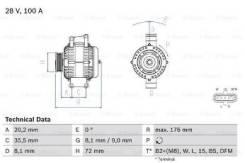 Генератор! 28V 100A Scania P/R-Series DC9/11/16, DC-DT12 0 986 047 820_ Bosch 0986047820