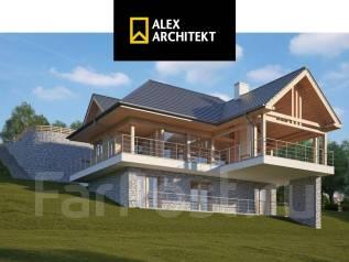 Проект дома R 113 Дом на скале. 100-200 кв. м., 2 этажа, 5 комнат, бетон