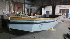 Лодка стальная. Катер для рыбалки. Рыболовный бот. 2017 год год, длина 8,50м., двигатель подвесной, бензин. Под заказ