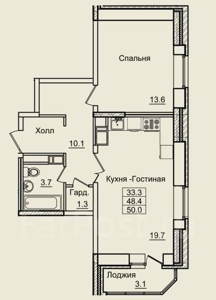 2-комнатная, улица Нейбута 17 кор. 3. 64, 71 микрорайоны, застройщик, 50кв.м. План квартиры