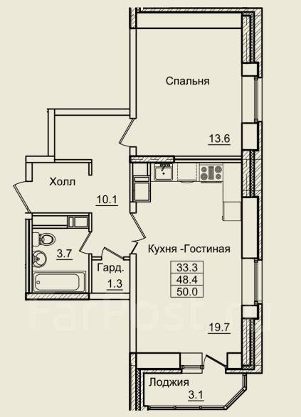 2-комнатная, улица Нейбута 17 кор. 3. 64, 71 микрорайоны, застройщик, 50 кв.м. План квартиры