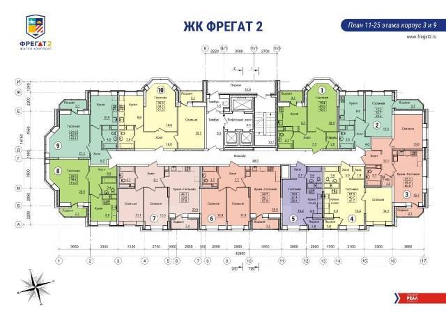 2-комнатная, улица Нейбута 17 кор. 3. 64, 71 микрорайоны, застройщик, 50 кв.м.