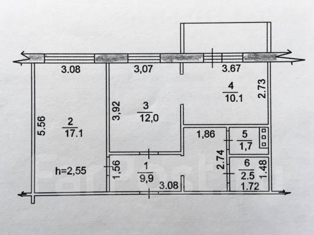 2-комнатная, улица Павла Морозова 94а. Индустриальный, агентство, 54 кв.м.