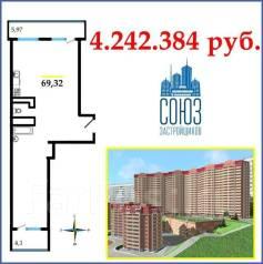 2-комнатная, улица Черняховского 9. 64, 71 микрорайоны, агентство, 69 кв.м.