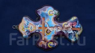 Протоиерейский (игуменский) наперсный крест авторской работы. Финифть. Оригинал