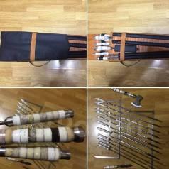 Шампуры, подарочный набор, каменные ручки, топор
