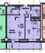1-комнатная, улица Поселковая 2-я 3в. Чуркин, частное лицо, 36кв.м. План квартиры