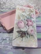 """Шкатулка-купюрница """"Розы""""подарок из дерева."""