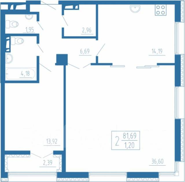 2-комнатная, улица Фонтанная 3. Центр, застройщик, 82кв.м. План квартиры