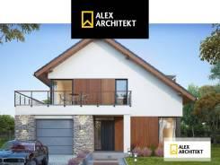 Проект дома R 124 Просторный, современный дом с мансардой. 100-200 кв. м., 2 этажа, 5 комнат, бетон