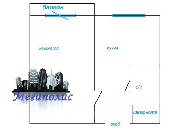 1-комнатная, улица Рыбацкая 2а. Весенняя, агентство, 32кв.м. План квартиры