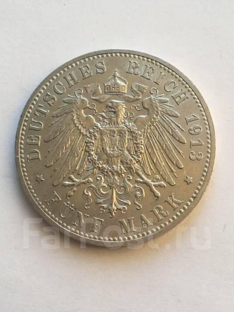 Аукцион ! Империя Германия 5 Марок 1913 год , Вильгельм II серебро