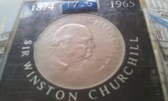 Великобритания! Огромная 1 крона 1965 г. в планшетке! Уинстон Черчилль