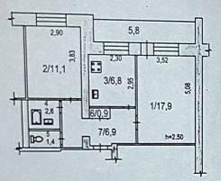 2-комнатная, проспект Московский 22 кор. 4. Ленинский, агентство, 47 кв.м. План квартиры