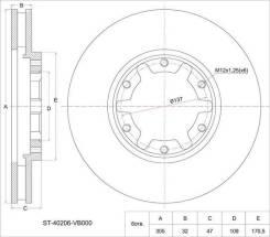 Диск тормозной FR NS Patrol/Safary Y61, 97-, правый передний SAT ST40206VB000