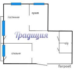2-комнатная, улица Шошина 35. БАМ, агентство, 50 кв.м. План квартиры