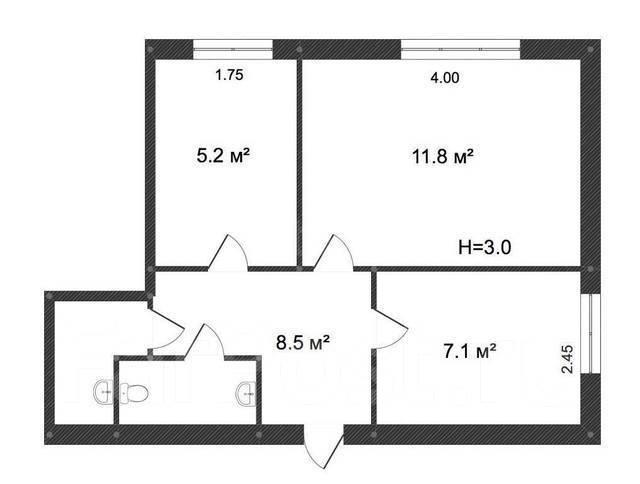 Помещение 3 комнаты, санузел, кладовая. 37кв.м., улица Стрельникова 10, р-н Эгершельд. План помещения