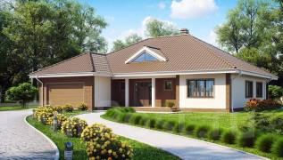 Одноэтажный дом с фронтальным гаражом для двух автомобилей!. 200-300 кв. м., 1 этаж, 6 комнат, бетон