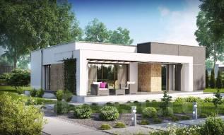 Небольшой дом в стиле хай-тек — элегантный, практичный и экономичный!. 100-200 кв. м., 1 этаж, бетон