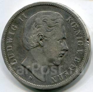 Германия-Бавария 5 марок 1875 года. Людвиг II. Серебро. Редкая