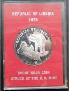 5 долларов.1973г. Либерия. Слон на карте Либерии. Серебро. Proof.