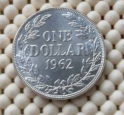 Либерия 1 доллар 1962г Ag900 UNC 20,74гр
