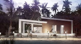 Проект современного дома в стиле хай-тек с двумя спальнями!. до 100 кв. м., 1 этаж, бетон