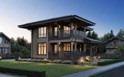 """Проект дома """"Южный"""" Клееный брус. 100-200 кв. м., 2 этажа, 3 комнаты, дерево"""