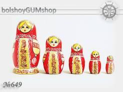 Матрешка российская (оригинал) 5 предметов 60х110 - suv-5-649