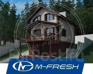 M-fresh Robinson (Проект маленького дома на склоне с террасой и баней). 100-200 кв. м., 2 этажа, 3 комнаты, бетон