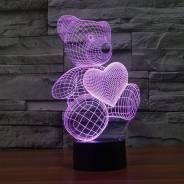 3D светильник Мишка с сердцем!