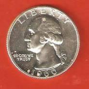 25 цент 1960 г. США. Серебро, отличная.